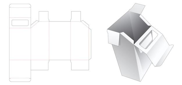 Caja de embalaje biselada con ventana en la plantilla troquelada superior abatible