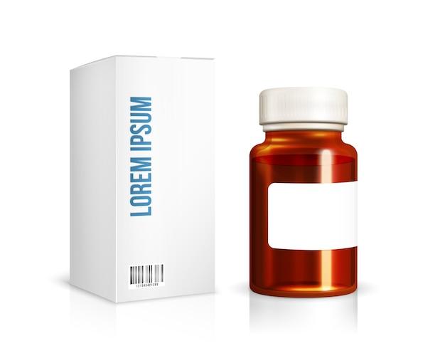 Caja de embalaje y botella de medicamentos, vitaminas.