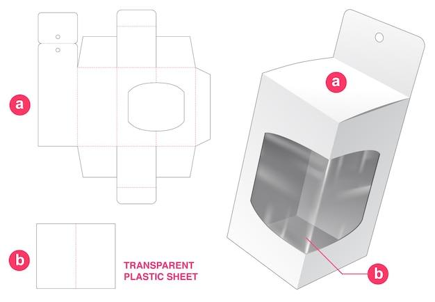 Caja de embalaje colgante y esquina de ventana con plantilla troquelada de hoja de plástico transparente