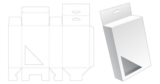 Caja de embalaje colgante con plantilla troquelada de ventana triangular
