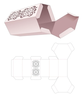 Caja de embalaje hexagonal con plantilla troquelada de plantilla mandala