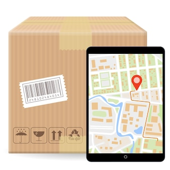Caja de embalaje de paquete de cartón cerrado marrón con signos frágiles y código de barras aislado sobre fondo blanco y gadget con mapa gps. plantilla para el envío de pedidos de seguimiento de paquetes.