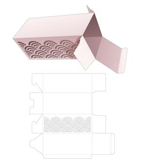Caja de embalaje con plantilla troquelada ondulada estarcida