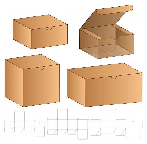Caja de embalaje troquelado diseño de plantilla.