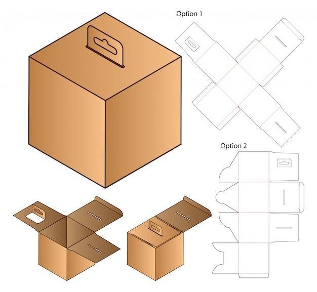 Caja de embalaje troquelado plantilla. 3d