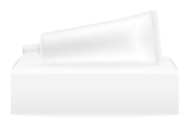 Caja de embalaje y tubo de plantilla vacía de pasta de dientes.