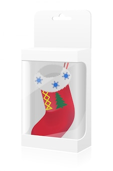 Caja de empaque año nuevo con calcetín.