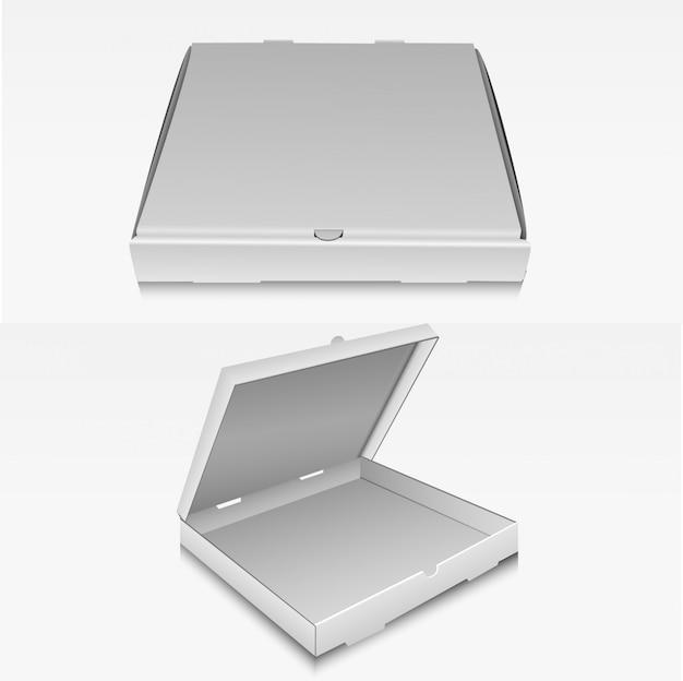 Caja de entrega de envases de cartón de pizza en blanco claro maqueta.