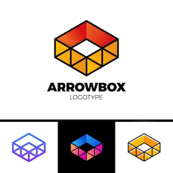 Caja de entrega con el logotipo de la flecha y el símbolo del triángulo. estilo de línea colorido