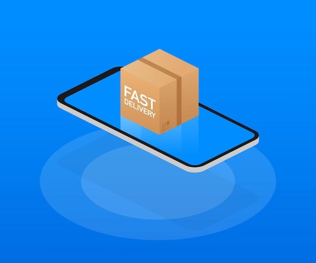 Caja de entrega rápida y comercio electrónico. ilustración aislada de elementos planos
