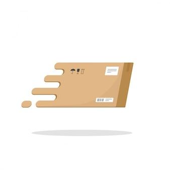 Caja de entrega rápida o paquete de paquetes volando vector icono plana de dibujos animados