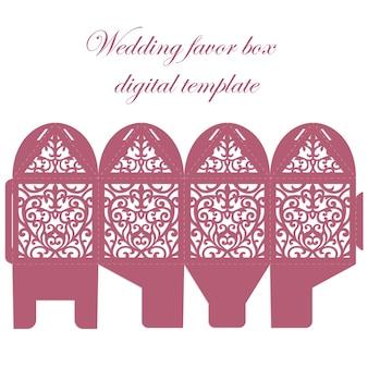 Caja de favor de boda. bombonniere candy box plantilla de corte láser con patrón de encaje.