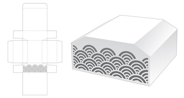 Caja en forma de pecho con plantilla troquelada ondulada estarcida