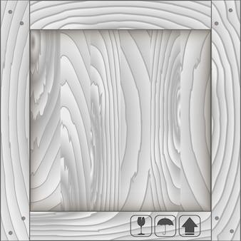 Caja frontal de madera y símbolo frágil.