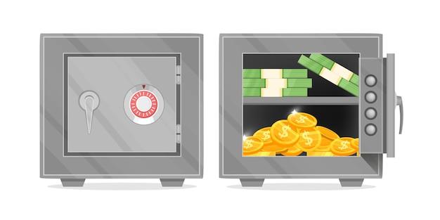 Caja fuerte del banco del vector con la ilustración de la puerta abierta y cerrada con billetes de dólar, monedas de oro aisladas en blanco.