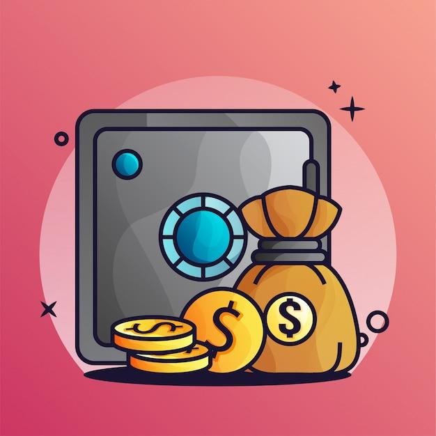 Caja fuerte y bolsa de dinero con moneda