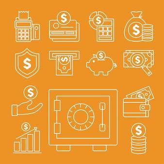 Caja fuerte con dinero conjunto de elementos financieros y comerciales