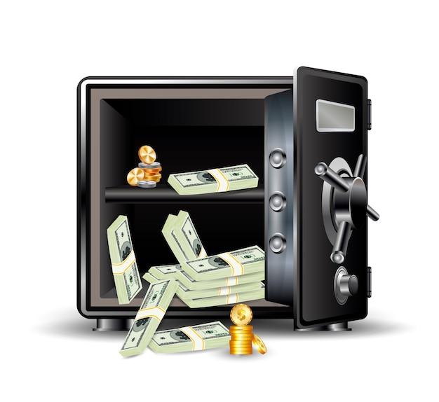 Caja fuerte con dinero y monedas.