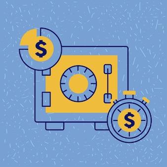 Caja fuerte con gráfico circular de monedas y cronómetro de negocios financieros de dinero