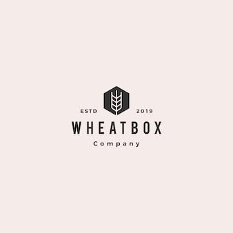 Caja de granjero logo trigo