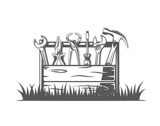 Caja de herramientas aislada sobre fondo blanco