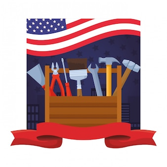 Caja de herramientas con conjunto de herramientas de construcción.