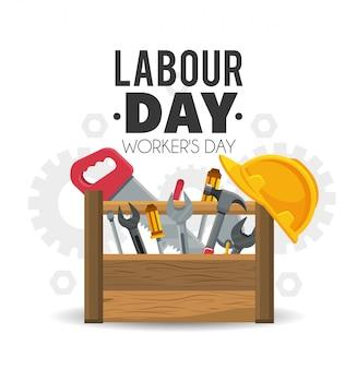 Caja de herramientas de construcción para jornada laboral.