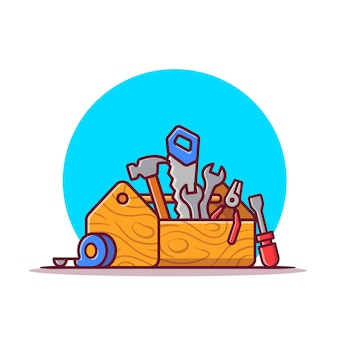 Caja de herramientas con ilustración de herramientas