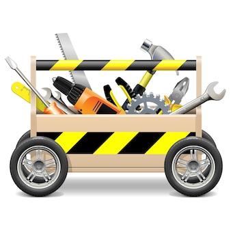Caja de herramientas móvil aislado en blanco
