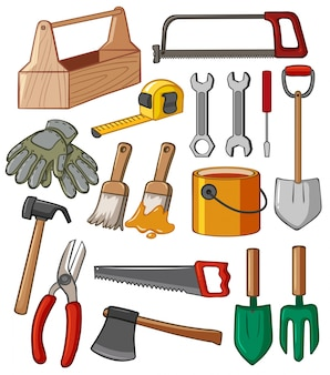 Caja de herramientas y muchas herramientas ilustración