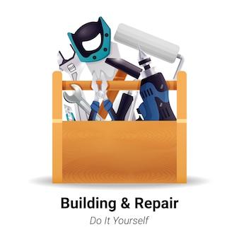 Caja de herramientas realista carpintero carpintero