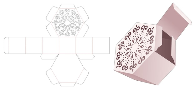 Caja hexagonal de regalo con plantilla troquelada de plantilla de mandala