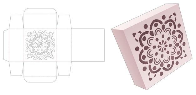 Caja de hojalata cuadrada con plantilla troquelada de patrón de mandala estarcido