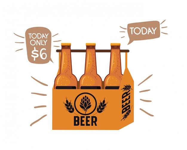 Caja con el icono aislado botellas de cerveza