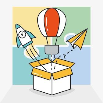 Caja con iconos relacionados con la gran idea alrededor