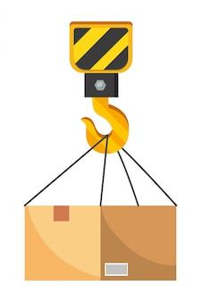 Caja con ilustración de gancho de grúa