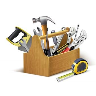 Caja de instrumentos de madera, caja de herramientas.