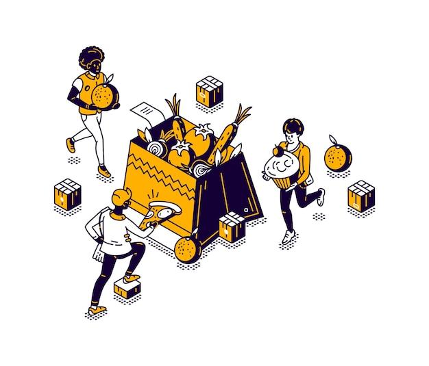 Caja isométrica con verduras y frutas, almacenando alimentos en una tienda o mercado, ilustración