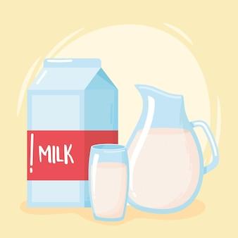 Caja jarra y taza de dibujos animados de productos lácteos