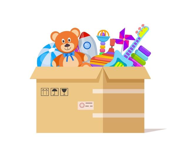 Caja de juguetes. dona juguetes, ayuda a los niños de caridad.