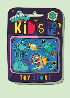 Caja de juguetes hay muchos juguetes dentro, juguetes espaciales
