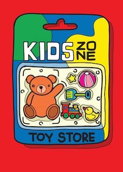 Caja de juguetes hay muchos juguetes dentro.