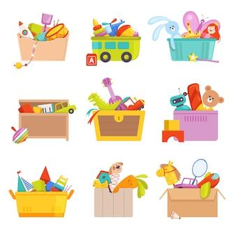 Caja de juguetes. regalos para niños en paquete muchos juguetes coche cohete ilustraciones de dibujos animados. cohete y coche, tren y oso, pelota y avión.