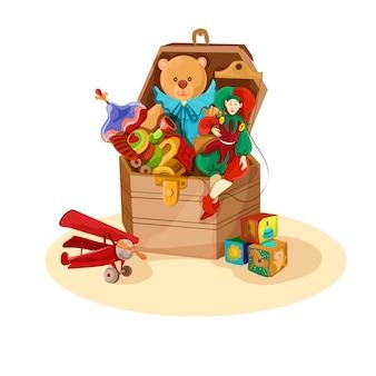 Caja con juguetes retro.