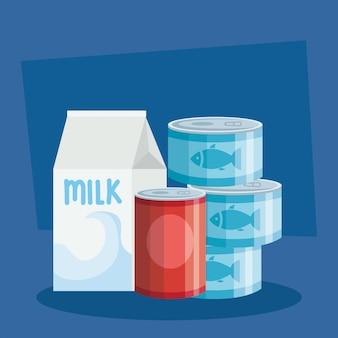 Caja de leche y latas