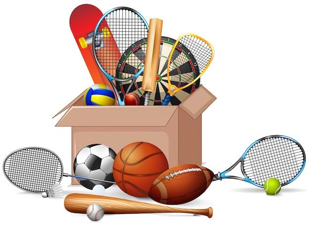 Caja llena de equipamientos deportivos.