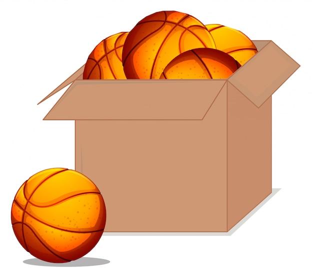 Caja llena de pelotas de baloncesto sobre fondo blanco.
