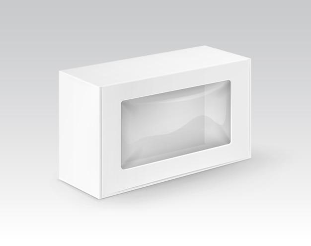 Caja para llevar del rectángulo en blanco blanco de la cartulina que empaqueta para el bocadillo
