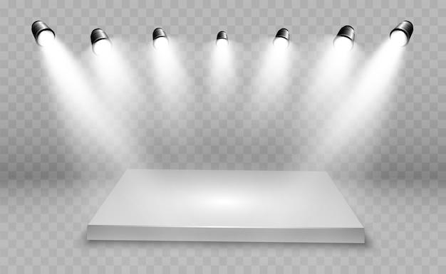 Caja de luz 3d realista con fondo de plataforma para rendimiento de diseño, espectáculo, exposición. interior del estudio lightbox. podio con focos.