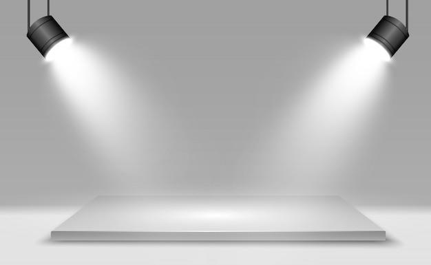 Caja de luz 3d realista con fondo de plataforma para rendimiento, espectáculo, exposición. ilustración de lightbox studio interior. podio con focos.